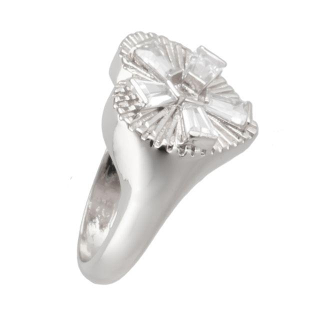 Dehlia ring 18 silver Clear