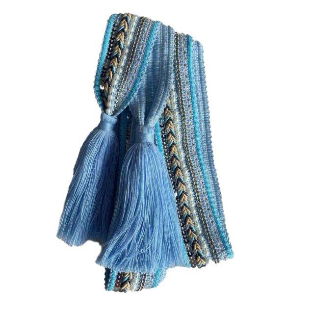 Belt knit tassle Lightblue