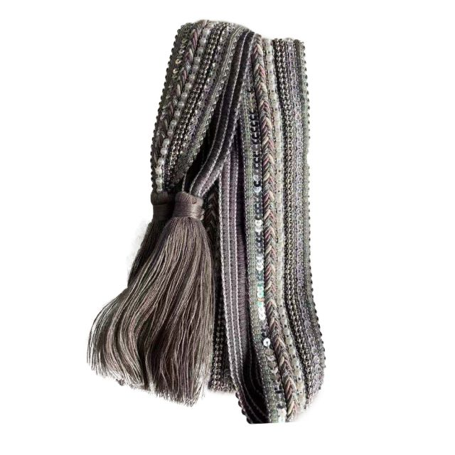 Belt knit tassle Grey