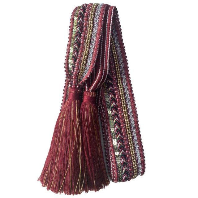 Belt knit tassle Burgundy