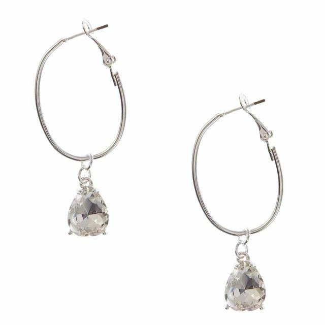 Drop ear silver Clear