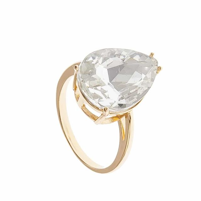 Drop ring 18 gold Clear