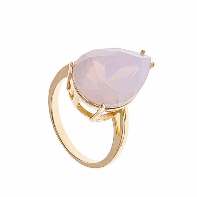 Drop ring 18 gold Matt pink