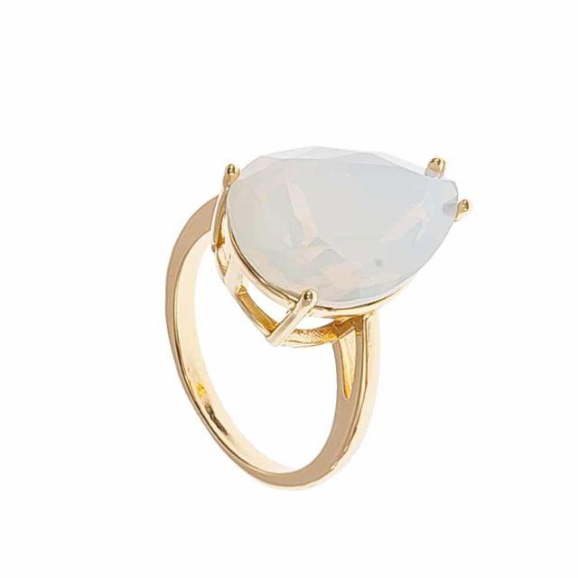 Drop ring 18 gold Matt white