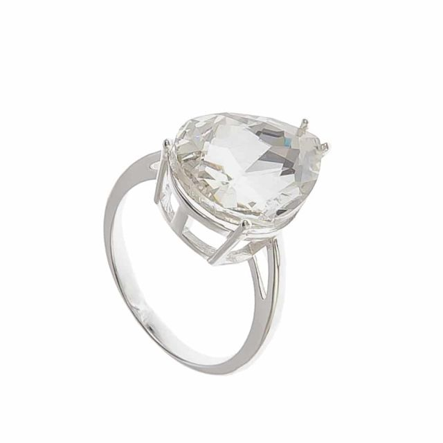 Drop ring 18 silver Clear