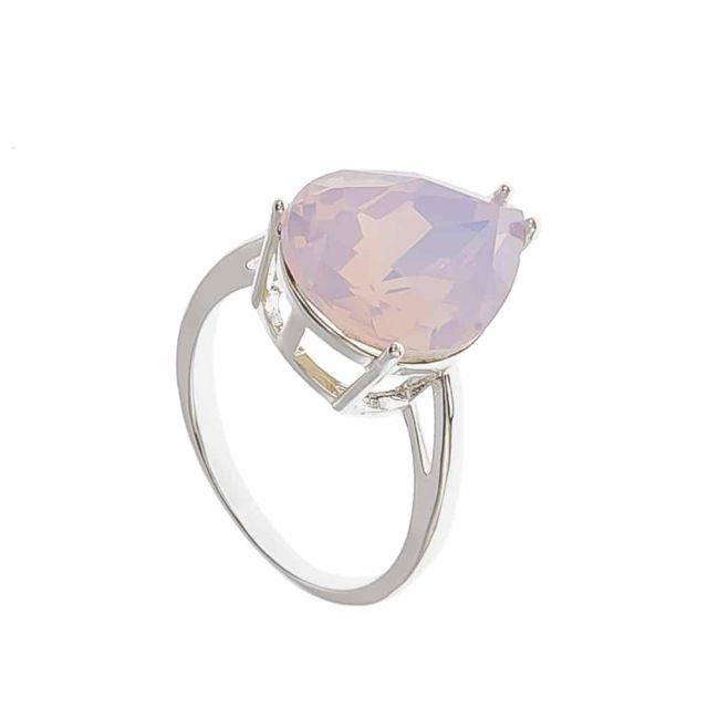 Drop ring 18 silver Matt pink
