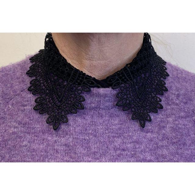 Collar lace small Black