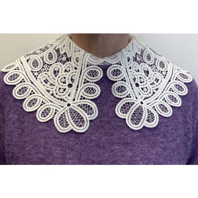 Collar lace large White