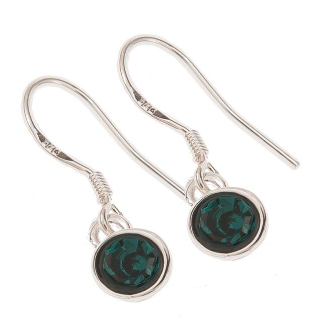 Jewel ear hook silver Seagreen