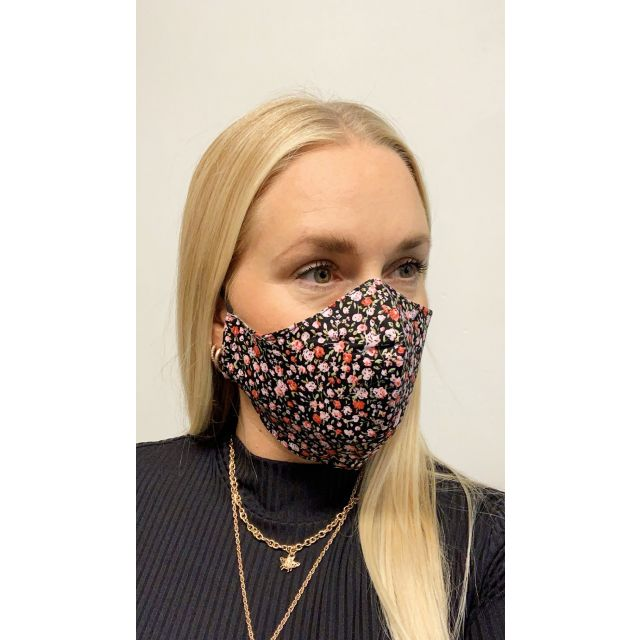 3-layer washable facemask flower Black