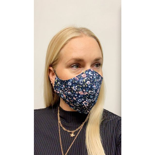 3-layer washable facemask flower Darkblue