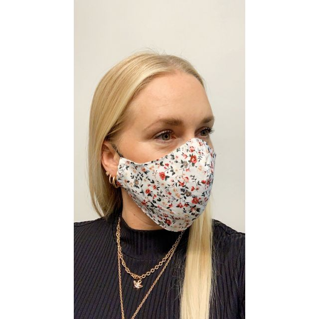 3-layer washable facemask flower White