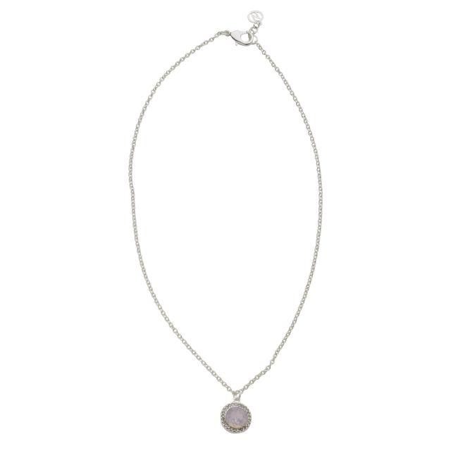 Opal neck 42 silver Matt pink