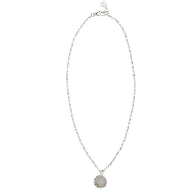 Opal neck 42 silver Matt white
