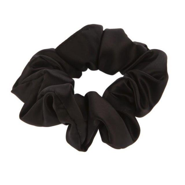 Satin scrunch Black