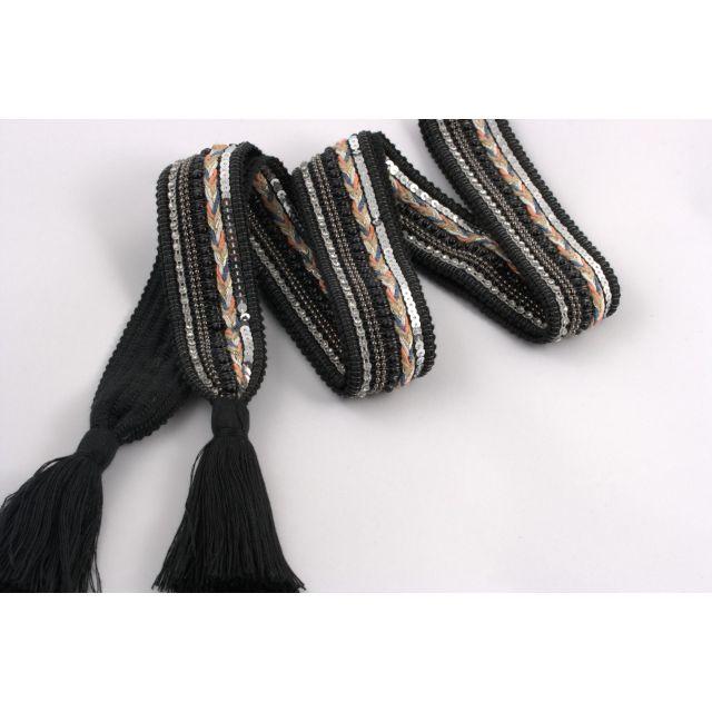 Belt knit tassle Black